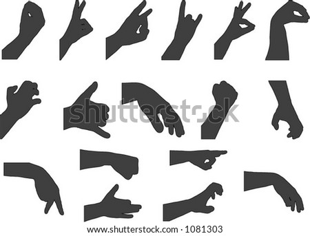 vector hand gesture silhouettes