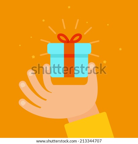 Vector hand giving present in flat style - gift concept illustration