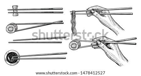 Vector hand holding chopsticks with sushi roll and ramen, black line drawing. Asian kitchen elements with noodle,  sushi roll, soy sauce and wooden chopsticks isolated on white background.