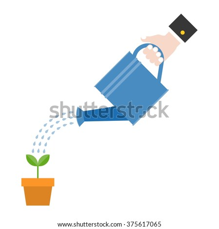 Vector hand holding watering can watering plant in pot, business concept, flat design