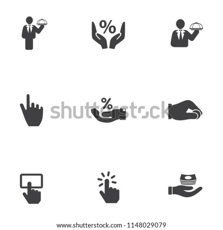 vector hand icons set - human gesture sign and symbols - finger thumb up