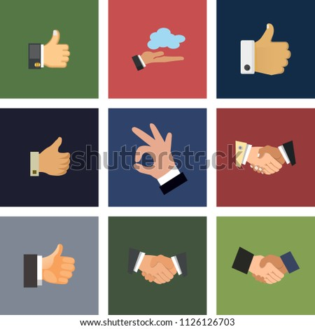 vector hand illustrations - gesture signs, vector handshake. thumb up. contract, partnership, success and communication concept