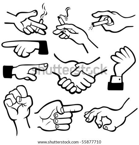 Vector hand in different poses.