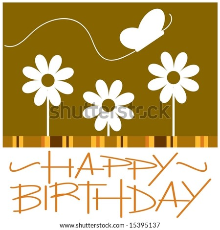 Vector hand lettered Happy Birthday card with flowers and butterfly