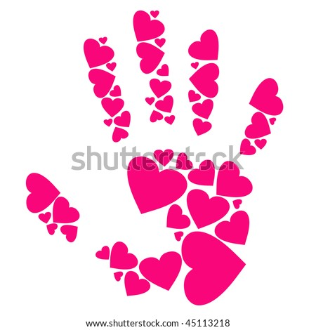 vector hand made by hearts