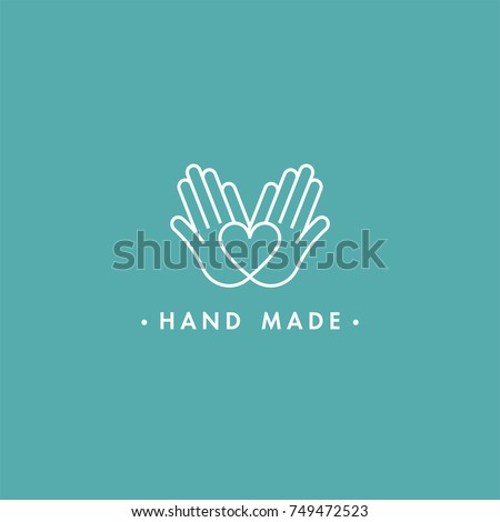 Vector hand made label and badge in linear trendy style - hand made. Hand made logo or icon