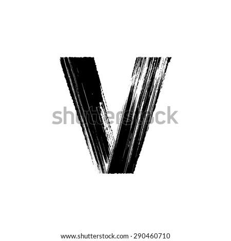 vector hand paint letter v