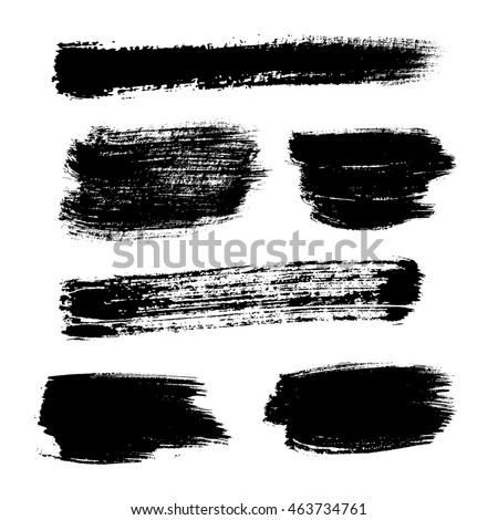 Vector hand painted isolated grunge black paint brush splash. Ink grunge shapes. #463734761
