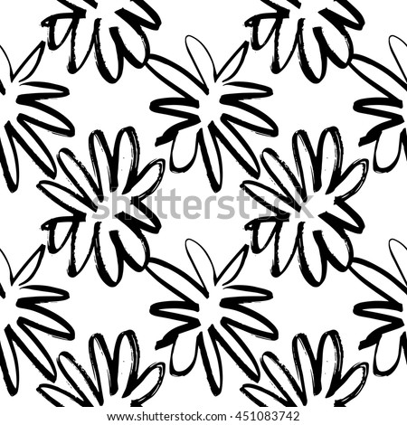 Vector hand-painted seamless pattern with ink brush strokes. Abstract background. Flowers. #451083742