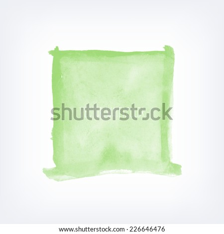 Vector hand painted watercolor green square background