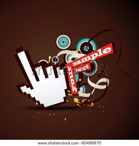 vector hand pointer abstract design - stock vector