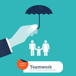 Vector hand protecting a family with an umbrella. Vector illustration Eps10 file. Global colors. Text and Texture in separate layers.