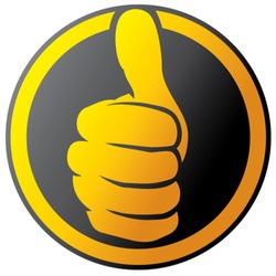 Vector hand showing thumbs up button (icon)