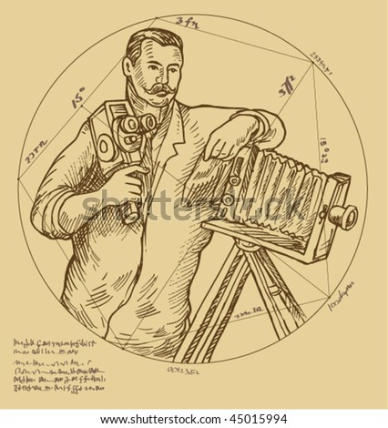 vector Hand sketch illustration of Vintage Photographer holding video camera made to look like it was done by a Renaissance  artist.