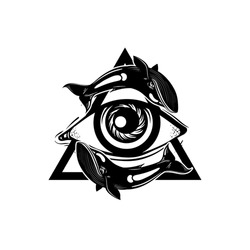 Vector hand sketched illustration. All seeing eye pyramid symbol with whales. New World Order. Hand drawn Eye of Providence. Alchemy, religion, tattoo art. Template for poster, print for t-shirt.