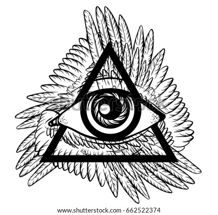 Vector Hand Sketched Illustration All Seeing Eye Pyramid Symbol With Wings New World Order