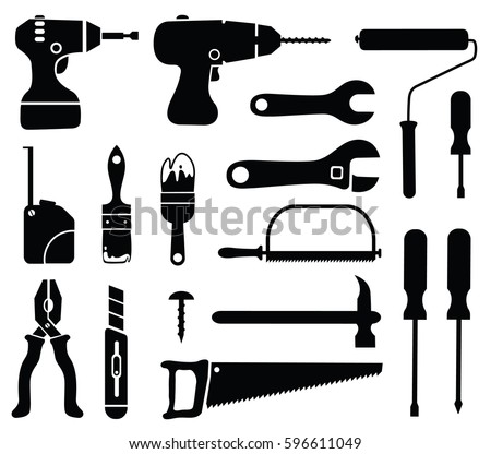Vector hand tools silhouette set.