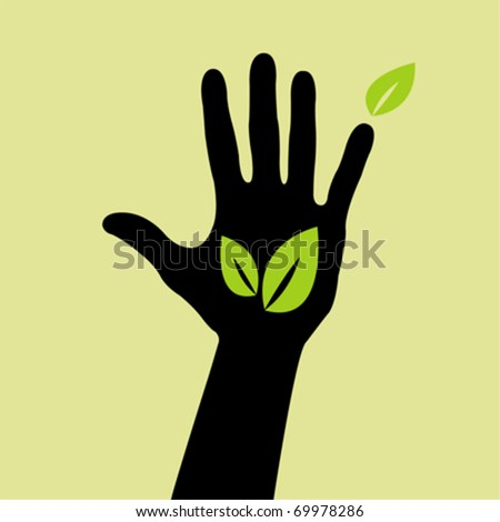 Vector hand with leaf sign