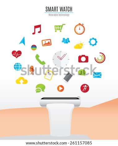 vector   hand with smart watch