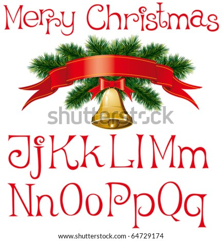 vector handmade christmas alphabet with bells and christmas tree decorations