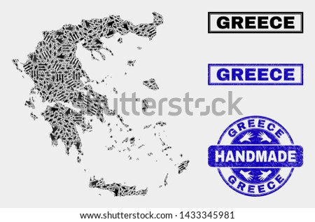 Vector handmade combination of Greece map and unclean seals. Mosaic Greece map is made of scattered hands. Blue stamp imprints with unclean rubber texture.