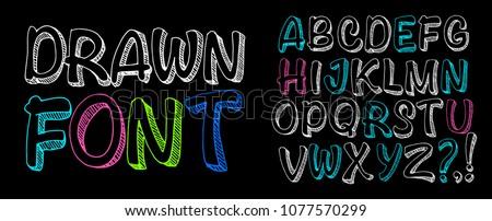Vector handmade Roman alphabet - free drawn font. Chalk board lettering.