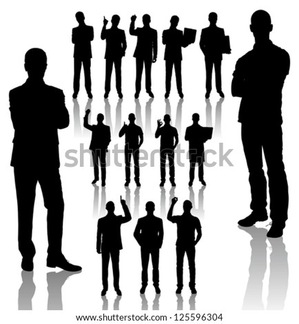 Vector handmade silhouettes of business people in different poses #125596304