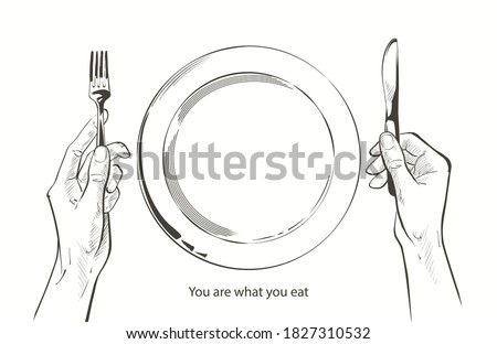 Vector hands holding a knife and fork by a plate on a table. Fasting, starvation, diet, weight loss, healthy eating concept. Bon appetit. Cutlery sketch line drawing realistic illustration. Stock photo ©