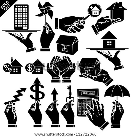 Vector hands & houses real estate silhouettes set