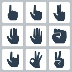 Vector hands icons set: finger counting, stop gesture, fist, devil horns gesture, okay gesture, v sign