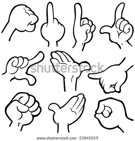 Vector hands in different poses.