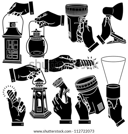 Vector hands & lamps silhouettes set