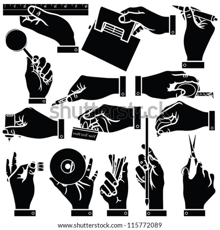 Vector hands & office stationery silhouettes set