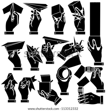 Vector hands, paper airplane & japanese paper crane silhouettes set - stock vector