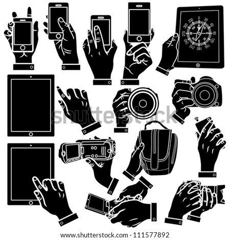Vector hands, smart phone and DSLR camera silhouettes set.