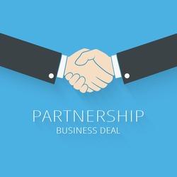 Vector handshake illustration. Background for business and finance