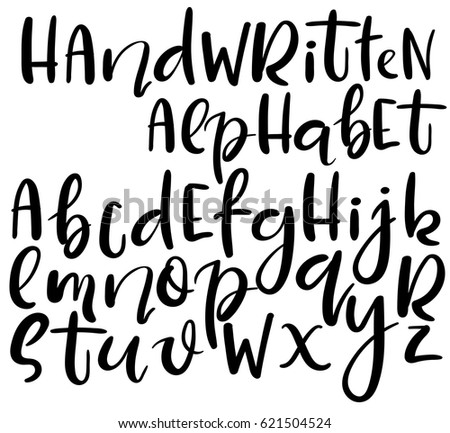 Vector handwritten brush alphabet isolated on white background. Different style of letters. Doodle abc.