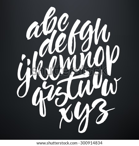 Vector handwritten brush script. White letters on chalkboard background.