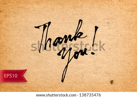 Vector handwritten calligraphy Thank You over old yellow paper background