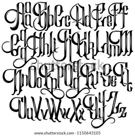 vector handwritten gothic font