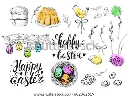 Vector handwritten inscription Happy Easter. Modern ink calligraphy. Vintage floral background with engraving elements: eggs, willow, nest and cake. Sketch. Colorful watercolor stains. #602362619