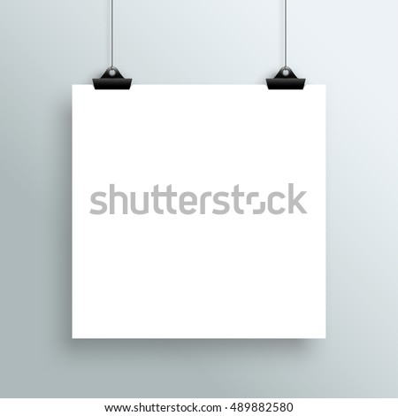 Vector Hanging Blank White Square Poster From Clips