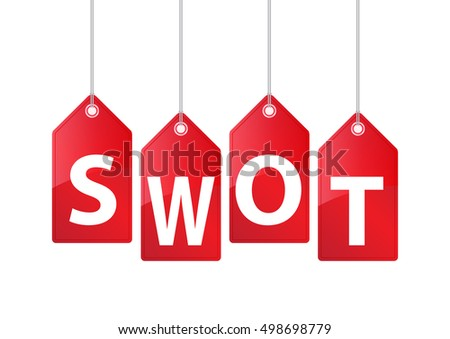 Vector Hanging Price Tags. SWOT