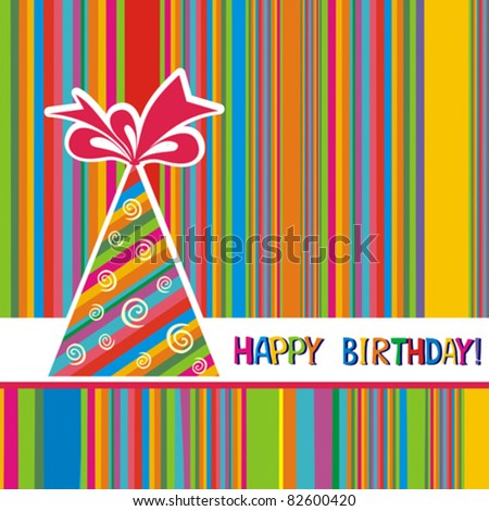 Vector happy birthday card. - stock vector