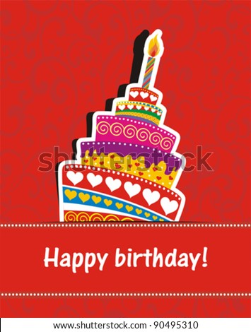 Vector happy birthday card Birthday cake Vector Illustration