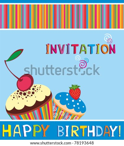 Vector happy birthday card. Cupcake invitation background - stock ...