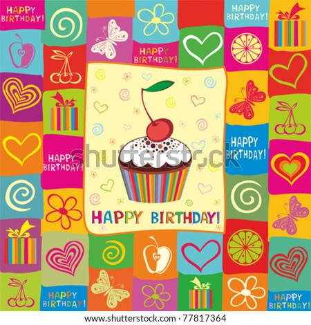Vector Happy Birthday Card. Illustration Of Cute Cupcak