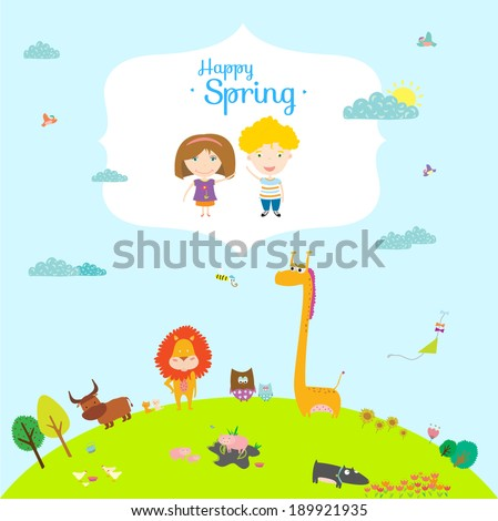 Vector happy birthday card in a vintage hipster style with place for text Bright background with cute and funny animals and children Spring season
