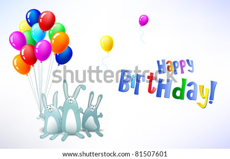 Vector Happy Birthday card with balloons and rabbits