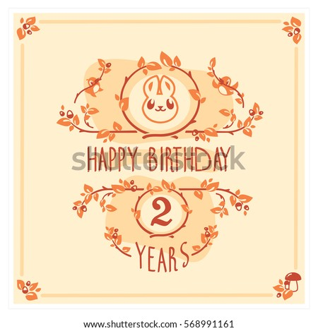 Vector Happy Birthday Card With Cute Rabbit Birthday Greeting Card